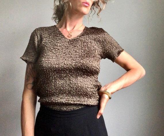 Vintage 90s micropleat top, textured summer blous… - image 8