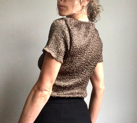 Vintage 90s micropleat top, textured summer blous… - image 3