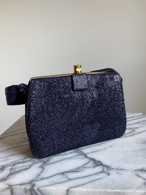 1950s Nu-Craft Navy Lurex Handbag with Original M… - image 8