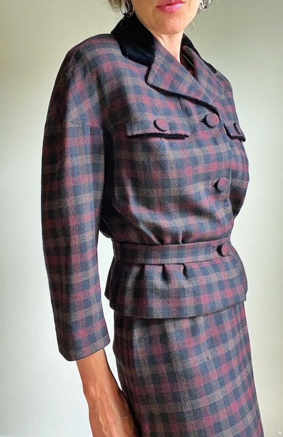 1940s Forstmann Checkered Wool Skirt Skirt, Monarc