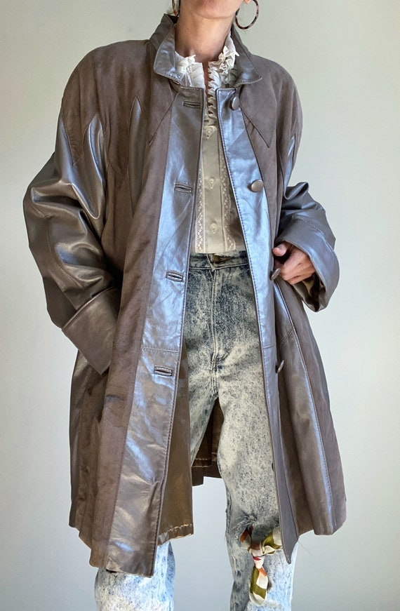 1980s Leather & Suede Panelled Car Coat Swing Jack
