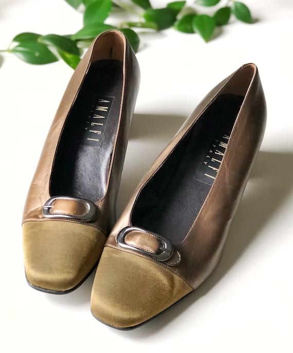Vintage AMALFI Gold Flats, Italian Leather Shoes,