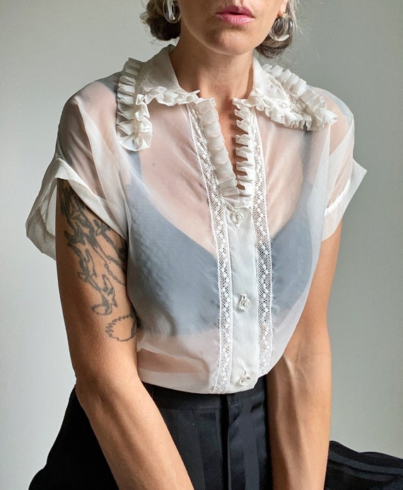 1950s Sheer Ivory Ruffled Collar Blouse