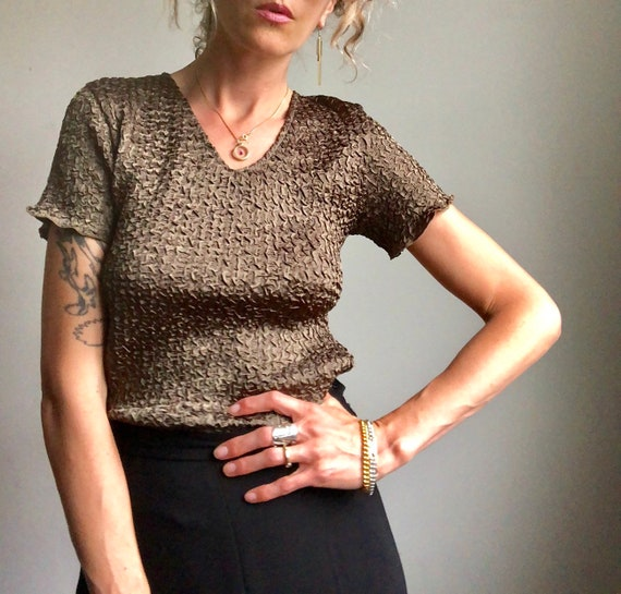 Vintage 90s micropleat top, textured summer blous… - image 2
