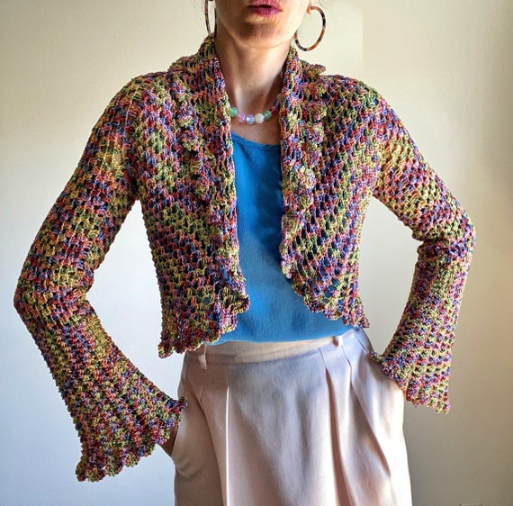 Vintage Crochet Summer Cardigan with Bell Sleeves