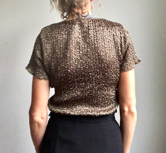 Vintage 90s micropleat top, textured summer blous… - image 5