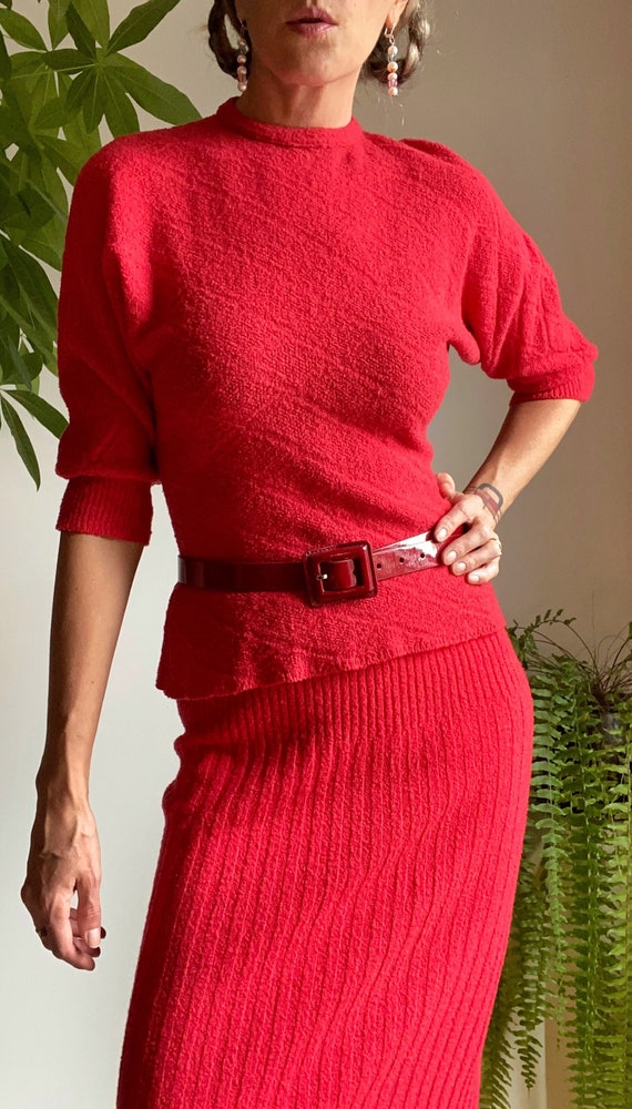 1940s Crimson Red Knit Skirt & Sweater Set