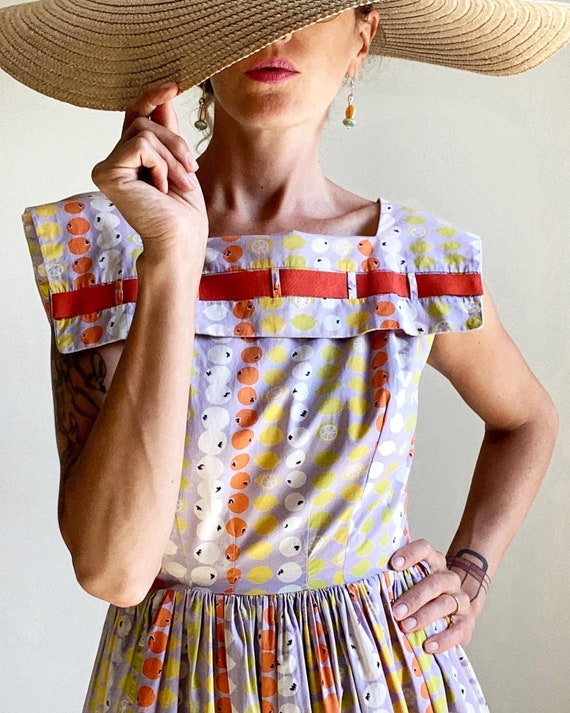 1950s Cotton Fruit Print Day Dress with Square Col