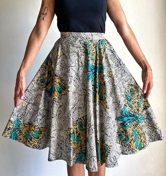 1950s Novelty Butterfly Print Cotton Circle Skirt,