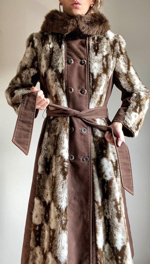 1970s Jay Wear Faux Fur Winter Trench Coat