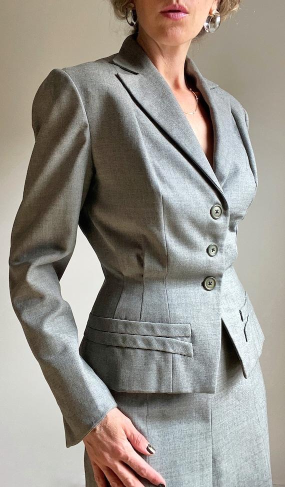 1940s Steel Grey Wool Gaberdine Skirt Skirt