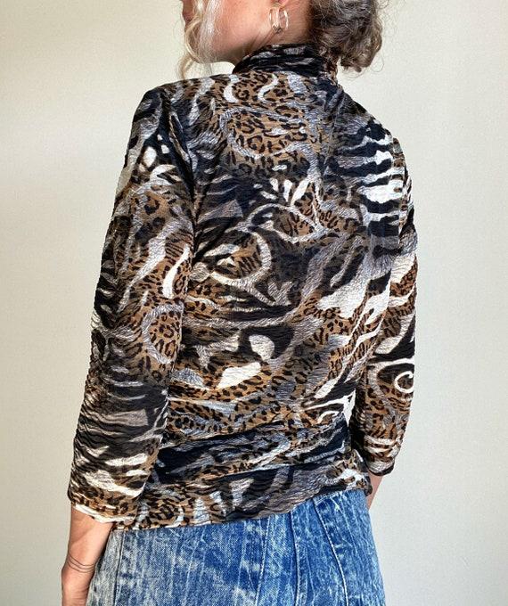 1990s Textured Zebra & Leopard Animal Print Top - image 4