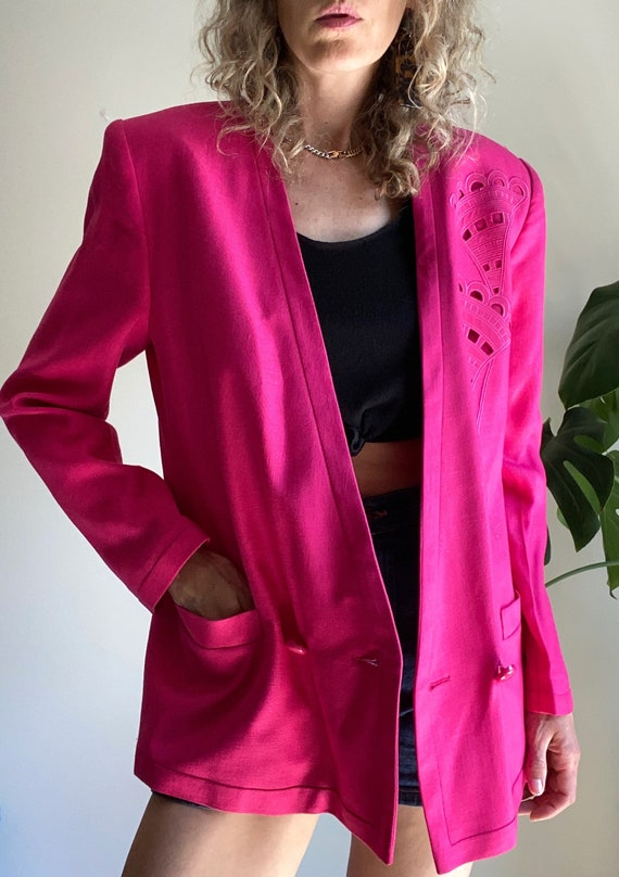 Vintage LOUIS FERAUD Blazer, 1980s Pink Power Bla… - image 7