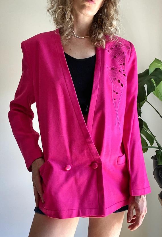 Vintage LOUIS FERAUD Blazer, 1980s Pink Power Bla… - image 8