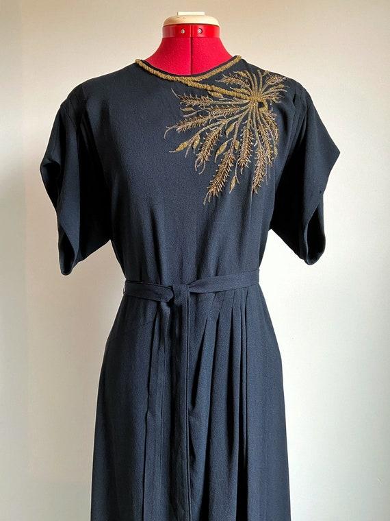 1930s Volup Black Rayon Beaded Dress with Original