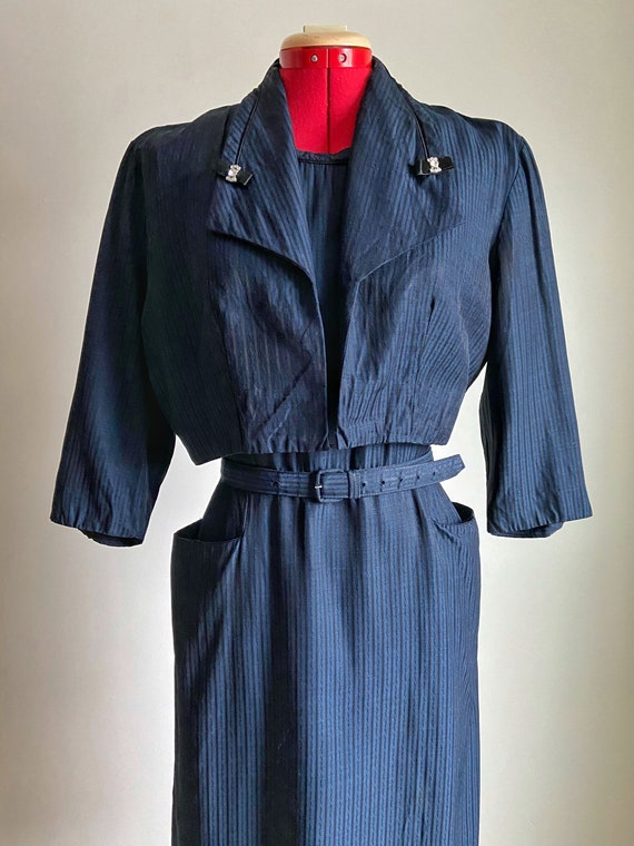 Vintage 40s Midnight Blue Dress & Evening Jacket w