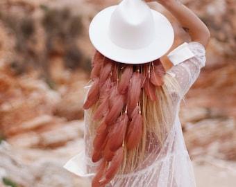 Nude Beige Faisan Plume Fleur Bandeau Bandeau races cheveux 7829