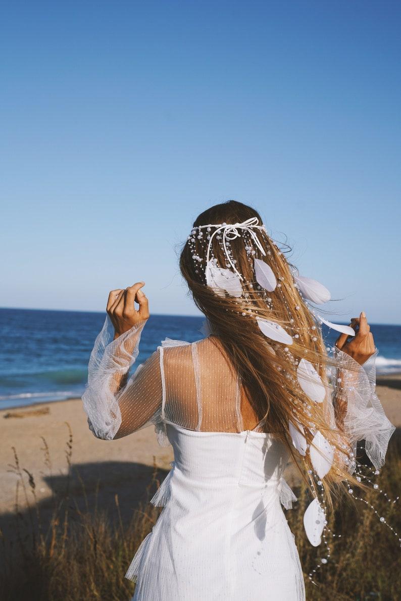 Wedding Hair Accessories Ideas for Boho Chic Brides, White Feather Bohemian Headband