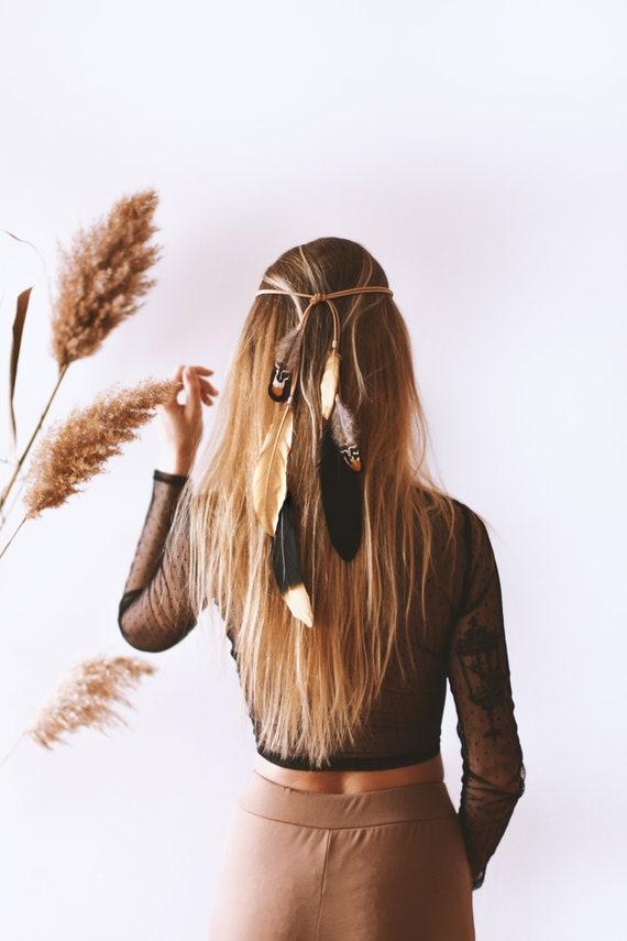 White Natural Feather Headband Necklace Cowboy Hat Bohemian Hair Bag Car Home Decor
