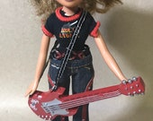 2001 MGA Bratz Rock Angelz Yasmin Doll, Stand, Guitar Microphone - RARE