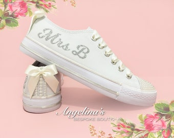 Customised Wedding Bridal Prom Canvas Trainers Shoes Pearls Crystals Lace 9b7ca92ec8