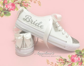 Customised Wedding Bridal Prom Canvas Trainers Shoes Crystals Pearls Lace 7a299a38cc