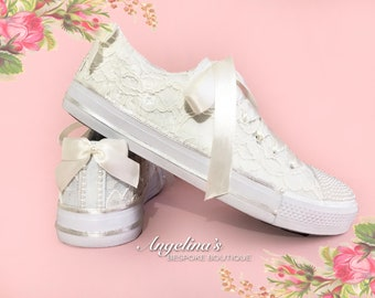 Customised Wedding Bridal Prom Canvas Trainers Shoes Ivory Lace Pearls  Crystals c81fa8da9c