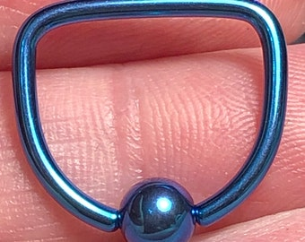 ASTM:F-136 Medical Grade Turquoise Titanium D Ring - 1.6mm - 14g Nipple Corset Ring