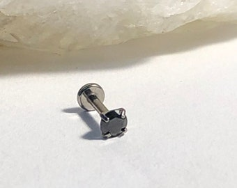 1.2mm x 7mm 16G 1 x Internally Threaded Surgical Steel Claw Set Crystal Top Labret Stud