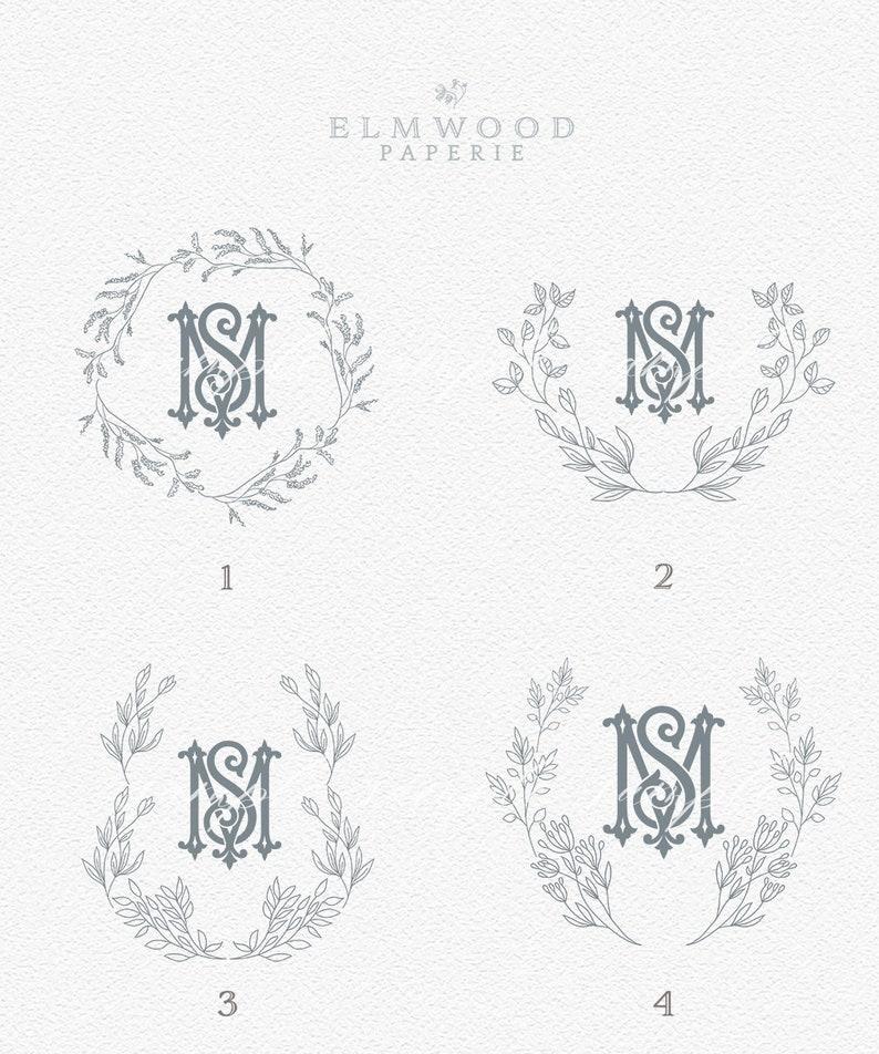 Elegant Wedding Crest Intertwined Monogram Crest Double Initial Monogram Regal Leafy crests Semi-Custom