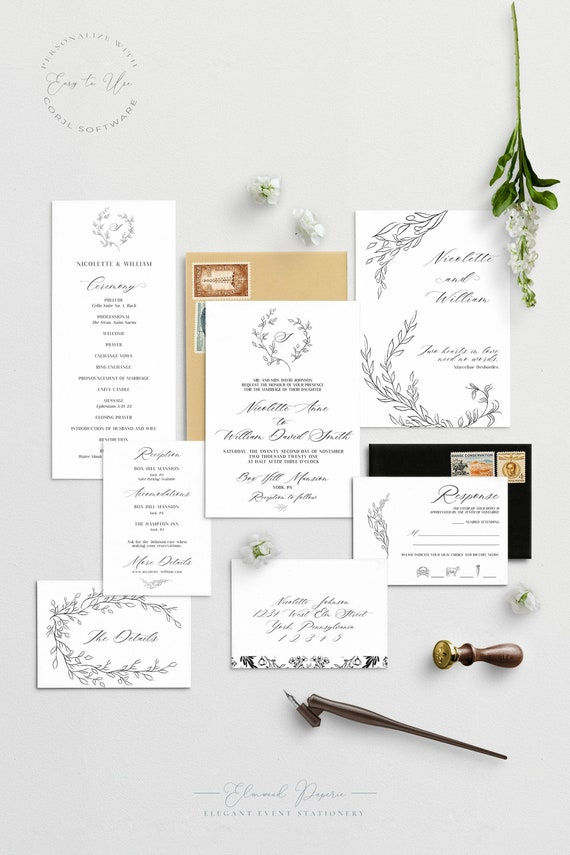 Elegant Black And White Wedding Invitation Suite Leafy Wreath Wedding Invitation Printable Wedding Invite Nicolette By Elmwood Paperie Catch My Party