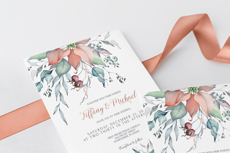 Christmas Wedding Invitation Set Template  Winter Wedding image 2