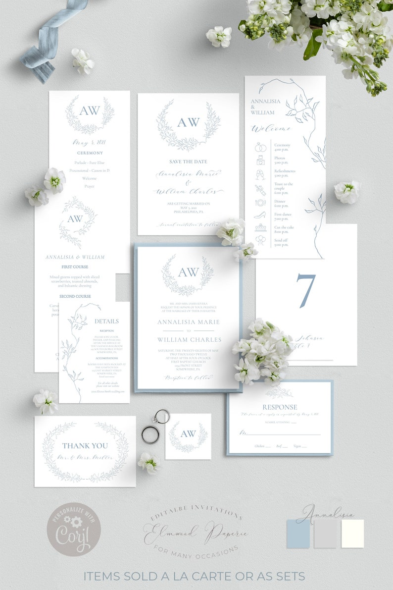 French Blue Save The Date Card Monogram Save The Date Annalisia Save Our Date Card Template Editable Printable Save The Date