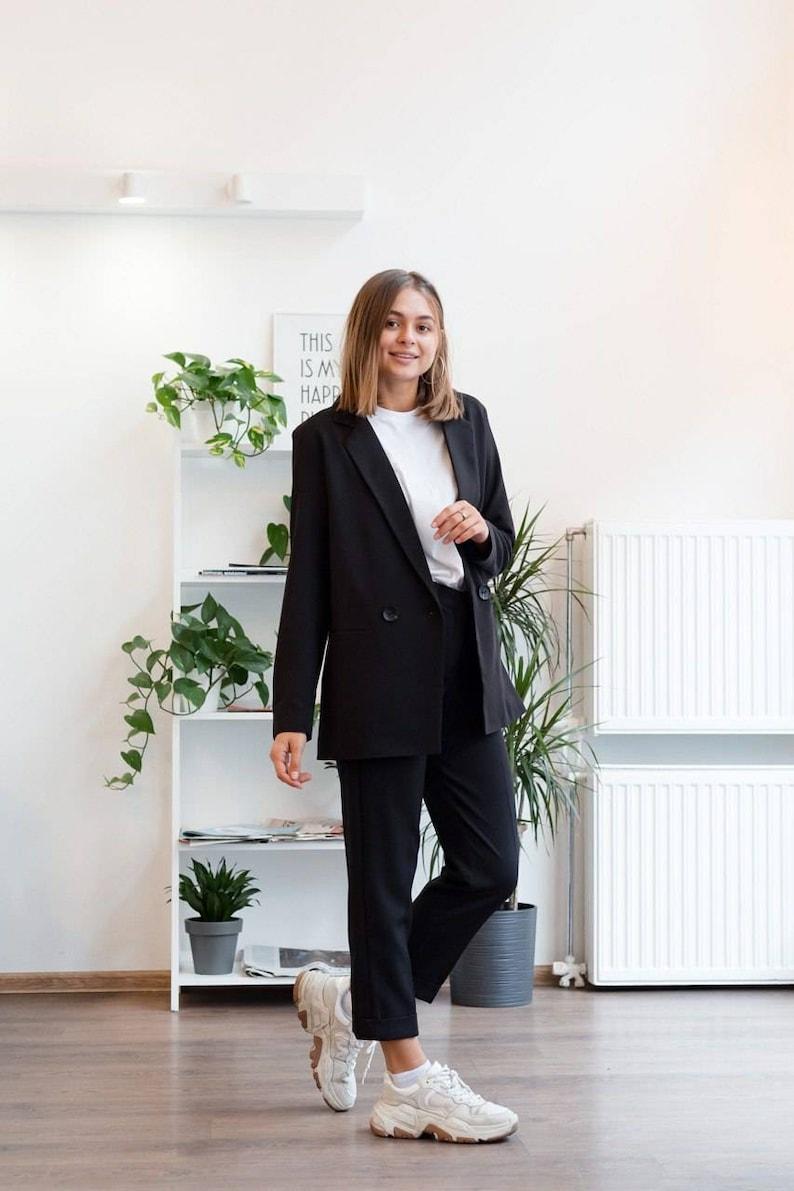 Black business suit Oversized sustainable suit business blazer Women long blazer Womens pants suit Office black pants Black suit jacket