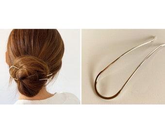 Lightweight Brass Hair Pin, Brass Bun Holder, Handmade Brass Hair Fork, Simple Minimalist Hair Pick, Wire Hair Pin, Updo Bun Maker, U Pin