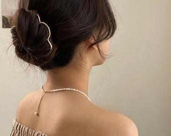 Strong Hold Minimalist Brass Hair Pin, Heart Wave Brass Bun Holder, Brass Hair Fork, Simple Hair Pick, Wire Hair Pin, Updo Bun, Multi Legs
