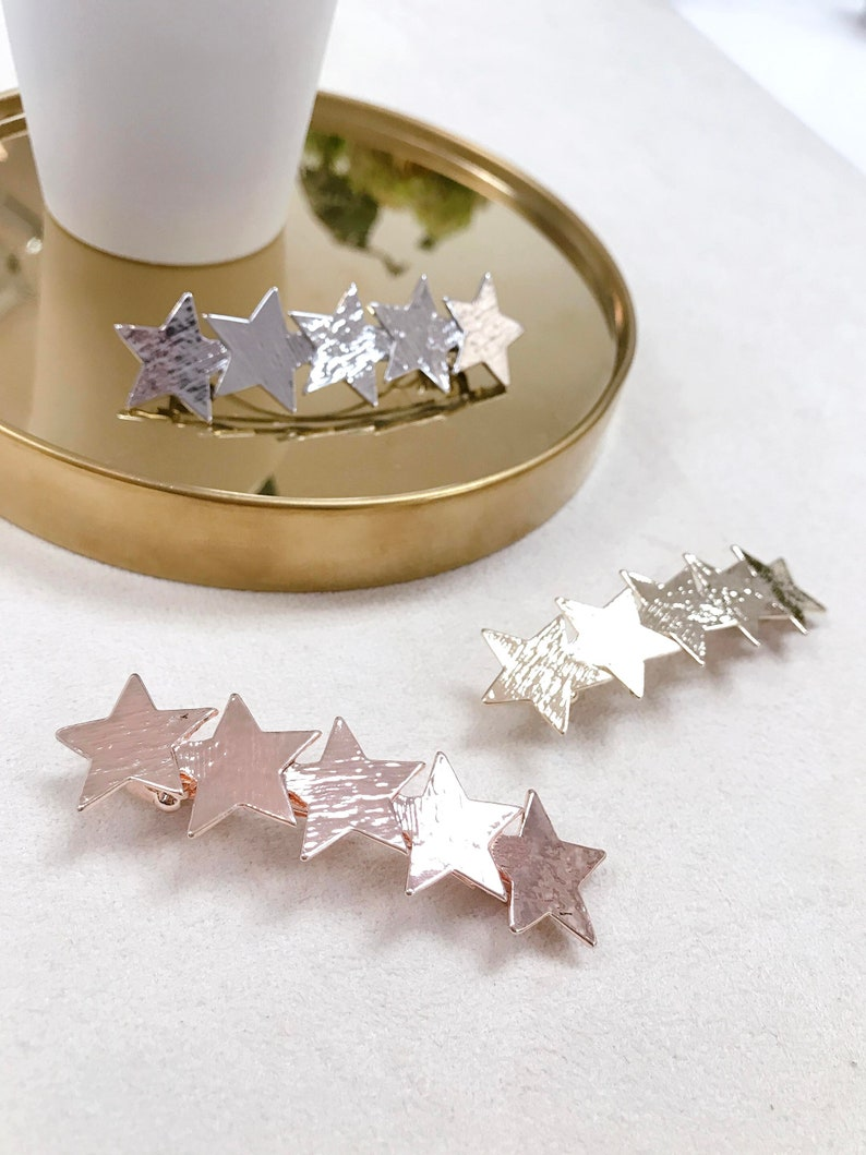 Celestial Star Hair Clip Star Hair Barrette Gold Silver RoseGold Hematite Hair Barrette Gift Starburst Hair Accessory Metal Hair Pin