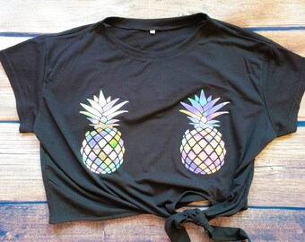 a5fca307466a6 Pineapple boobs   Pineapple Shirt   Pineapple Crop Top