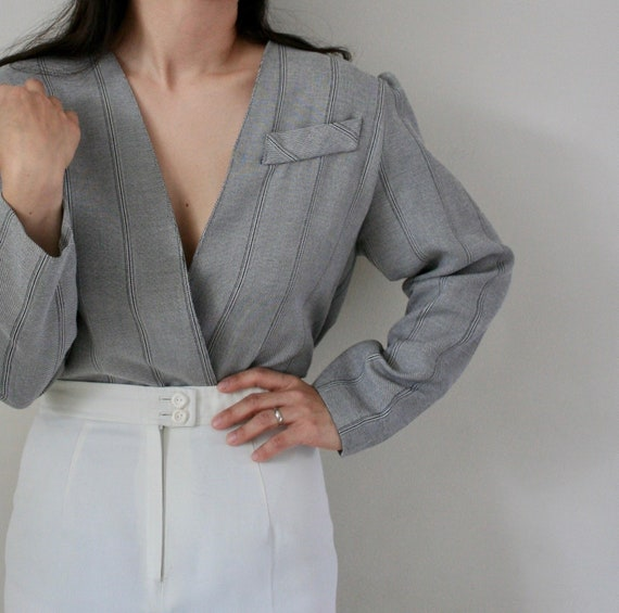 vintage grey striped blazer / 90's suit jacket / p