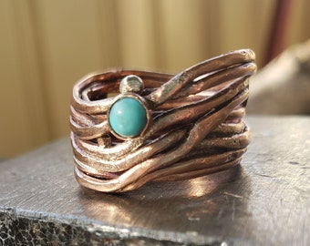Copper Coil Ring with Mexican Turquoise - Size 7