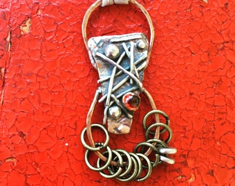 Copper - Sterling Silver - Brass - Garnet - Mixed Metal Pendant Collage - Unconventional Wearable Art Jewelry