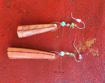 Handmade Rusted Blood Orange Asymmetrical Clay Drop Earrings with Swarovski Elements - Expressive Art Jewelry