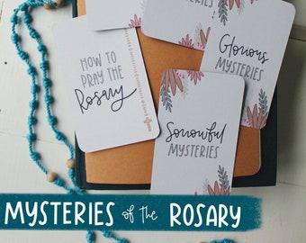 Mysteries of the Rosary - Catholic Prayer - Catholic Prayer Cards - Rosary - Catholic Art - Salve Regina - Marian Devotion