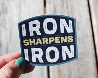 Iron Sharpens Iron Sticker - Proverbs 27:17 Sticker - Catholic Men Sticker - Christian Men Sticker - Catholic Sticker - Christian Sticker