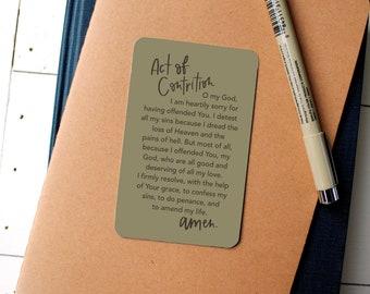Act of Contrition Prayer - Confession - Catholic - Prayer Card - Catholic Prayer - Catholic Devotion - Reconciliation