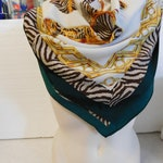 infinity scarf Vintage shawl Silk shawl green beige's Shawl made in italy Vintage 90-th Shawl with Bags Womens shawl Mother day gift