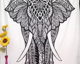 Indian Elephant Tapestry Bed Spread Psychedelic Mandala Art Hippie Wall Hanging
