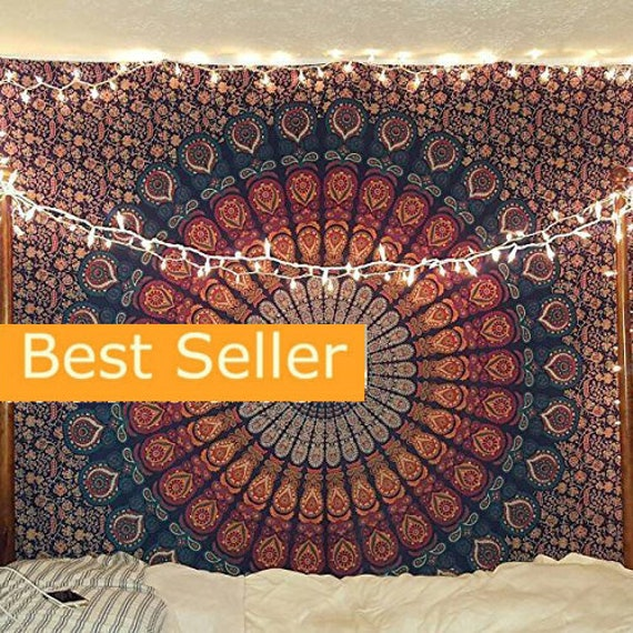Tapestry Blue Multi Tapestry Wall Hanging Mandala Tapestries Etsy