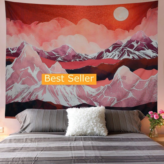 Watercolor Mountain Tapestry Art Wall Hanging Tapestries Art Home Wall Decor USA