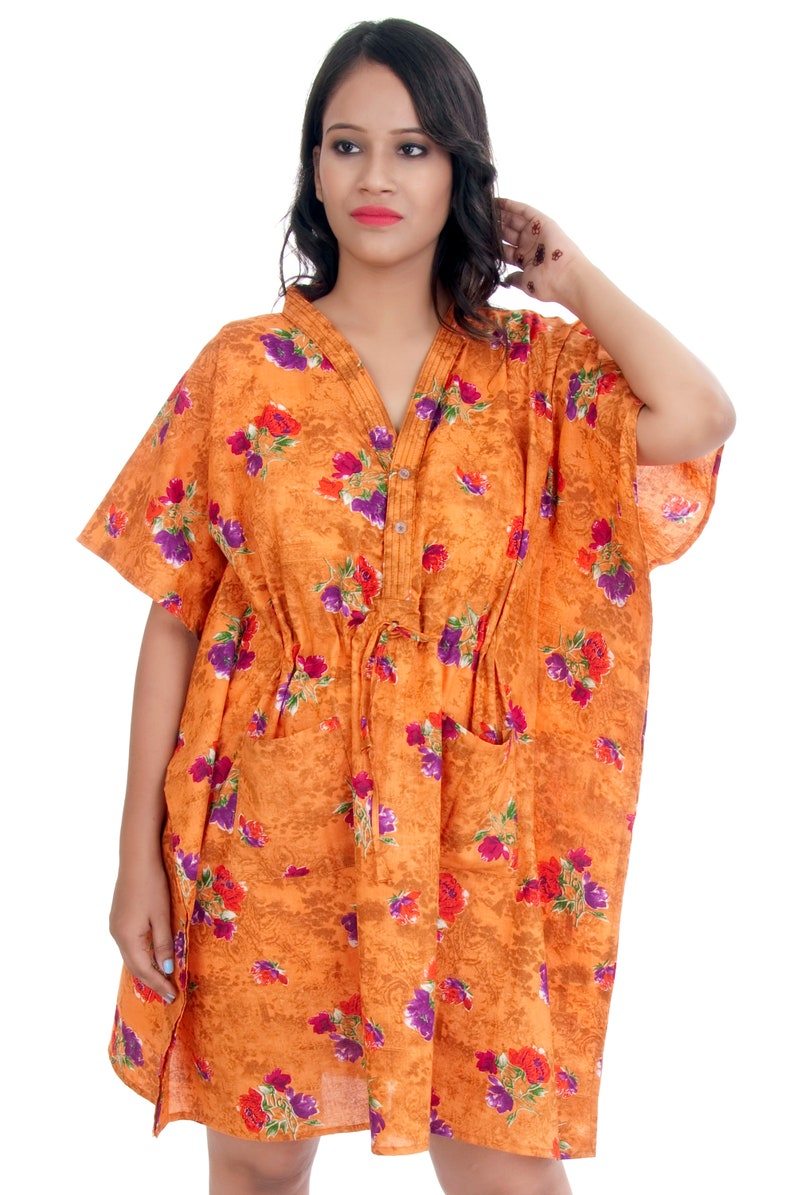 7cbed6eb775 Floral Orange Caftan Maternity Gown Feeding Gown